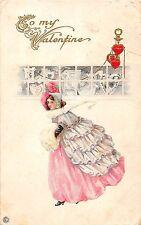 B20/ Valentine's Day Love Holiday Postcard c1910 Series 92B Pretty Dress 18