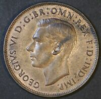 AUSTRALIA 1938 PENNY KGVI - LUSTROUS aUNC CONDITION - NICE COIN  (KF39)