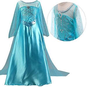Mädchen Prinzessin ELSA Kostüm Eisprinzessin Set Diadem Handschuhe Zauberstab DE