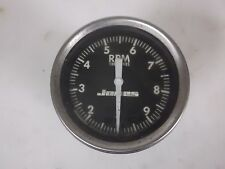 Vintage Jones Instrument Corp, 10,000 RPM Race Tach White on Black # 5707-2