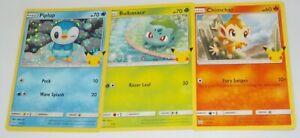 2021 McDonalds Pokemon cards Piplup Holo #20 + Common Bulbasaur & Chimchar
