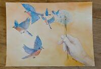 Bird Friends 6 x 6 Original Encaustic Painting
