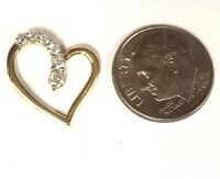 10k yellow gold .20ct SI1 H round diamond heart pendant 1.7g estate