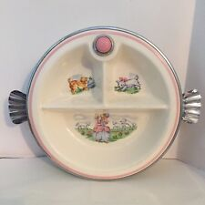 1944 Bartsch Divided Baby Water Warming Dish Pink Chrome Plated with Lil Bo Peep