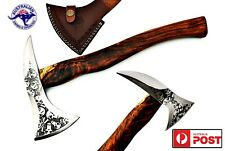 Stainless Steel Custom Handmade Etched Axe Tomahawk - Walnut Wood Handle X57