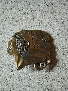 Vintage Native American Indian Chief Head Brass Belt Buckle
