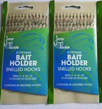2-Pack lot 96 Total Snelled Bait Holder Fishing Hooks Size 4 6 8 & 10 assorted