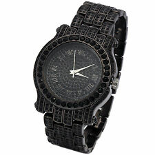Mens CZ Fully Iced out Black Plated Metal Black Face Hip Hop Wrist Watch Watches
