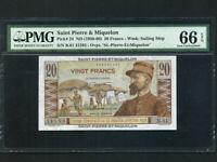 Saint Pierre & Miquelon:P-24,20 Francs,1950* Emile Gentil * PMG Gem UNC 66 EPQ *