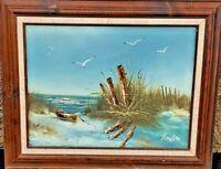 Gorgeous Vintage Original Shoreline Ocean Beach Scene Oil Painting Signed Framed