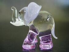 Decorative Glass ELEPHANT Purple Glass Ornament Hand Painted Glass Animal Gift