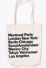 New~American Apparel Cities Print Tote Bag Denim Cream Khaki Black Lettering