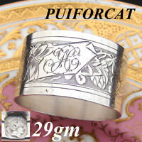 Antique French PUIFORCAT Sterling Silver Napkin Ring, Guilloche Style Decoration