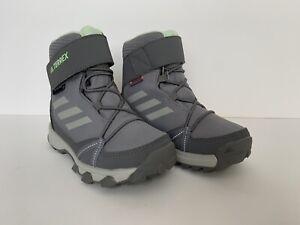 adidas Terrex Snow CF CP CW G26580 kids Green Grey Snow Boot Size 11k