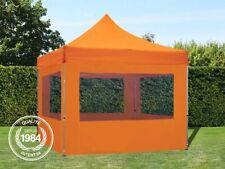 3x3 m Tente pliante - Alu, PES 300g/m², côtés panoramiques, orange