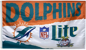 Lite Miller Miami Dolphins Beer flag Banner 3X5Feet