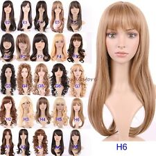 Best Quality Women Ladies Full Wig Long Curly Straight Cosplay Wigs Brown US R75