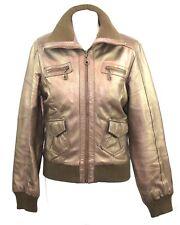 Women's Brown Metallic Bronze Leather Bomber Style Jacket Julien MacDonald UK 12
