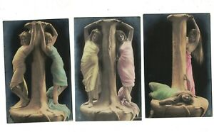 ME1314 RISQUE SET OF 3 SUGGESTIVE POSES OF 2 BEAUTIES AROUND A STATUE RPPC