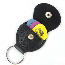 1 Pcs Faux Leather Keychain Guitar Pick Holder Plectrum Bag Black Case SP