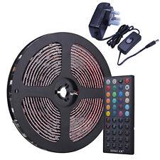 10M SMD 5050 RGB 600 LED Strip Roll Lights IR Remote Set Adapter Waterproof Kit