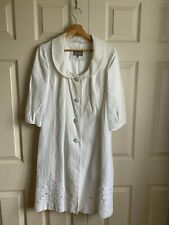 White Linen Fitted Coat