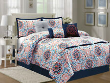 7-Pc Geometric Floral Embroidery Comforter Set Blue Orange Pink Off-White King