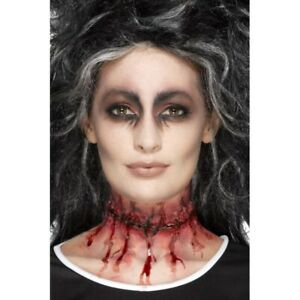 Latex Stitched Scar Prosthetic Slit Throat Special FX Ladies Halloween Make Up