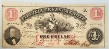 "May 15, 1862 $1 Virginia Treasury Note! Hand signed and numbered! 3"" X 7.25""!"