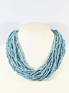 Artisan Blue Glass Seed Bead Multi Strand Choker Necklace 21 Inches