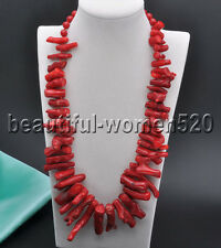 Round Bead Necklace 22inch Z7823 40mm Red Coral branch
