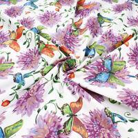 Taglio Tessuto Cotone 280x280 cm a Fantasia Fiori Farfalle Colorato Arredamento
