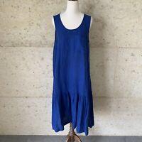 GORMAN Blue Linen Blend Frilled Hem Midi Dress - Size 8, Sleeveless