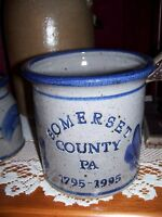 1795 - 1995 Stoneware Crock Somerset PA Gray with Blue Pottery