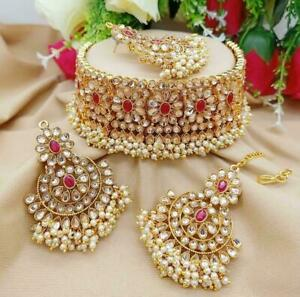 Indian Wedding Women Necklace Red Color Heavy Earrings With Head Tikka Jewelry