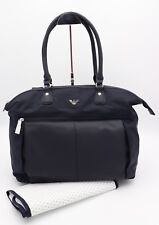 NWT Armani Junior Navy Blue Leather Nylon Diaper Changing Baby Bag Tote New