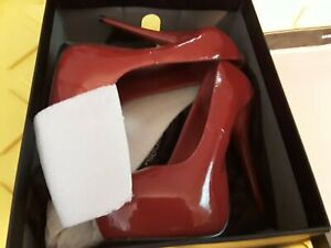 """Pleaser 202 gorgeous red patent. Leather 6 1/2 """" high.      size 7"""