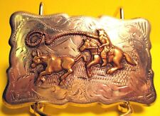 COWBOY ROPING CALF Solid STERLING SILVER FRONTIER Western Belt Buckle FREE SHIP