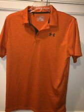 Under Armour Boys Xl Heat Gear Orange Solid Heathered Loose Polo Shirt