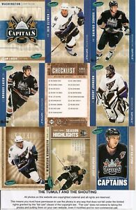 2005-06 Parkhurst  Washington Capitals Master Team Set (25) All 5 Ovechkin RC