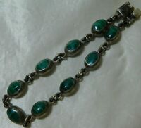 """Vintage Taxco 925 Sterling Silver GREEN MALACHITE Mexico Signed bracelet 8"""""""