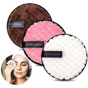 4 Reusable Makeup Remover Pads Microfiber Face Cleaner Puff Facial Cleansing UK