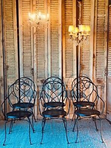 Set of 6 Black Metal Outdoor Dining Chairs French Style