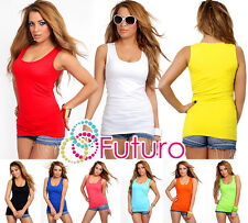 Plain Natural Cotton Wrap Top Hot Colors Sleeveless Size UK 8-12 FK2065