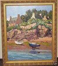 fine art painting Arnaud Leturcq rooftops rocky coast