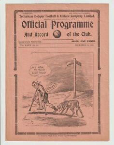 Tottenham Hotspur V Portsmouth Rare London Combination Programme 1934/35