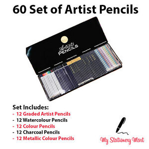 60 Set Colouring Pencils Watercolour Metallic Graded Sketching Drawing Pencil