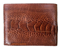 Leather Men Wallet Bifold Genuine Ostrich Skin Brown Handmade RFID