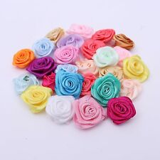 100pcs Mixed Rose Flower Satin Ribbon Hair Bows Wedding Appliques Sewing Craft