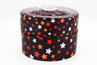 "Halloween Stars 3"" 2"" 1"" 75mm 50mm 25mm Grosgrain Ribbon"